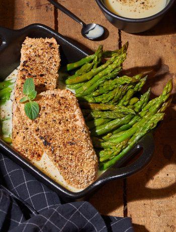 tranci di salmone con asparagi